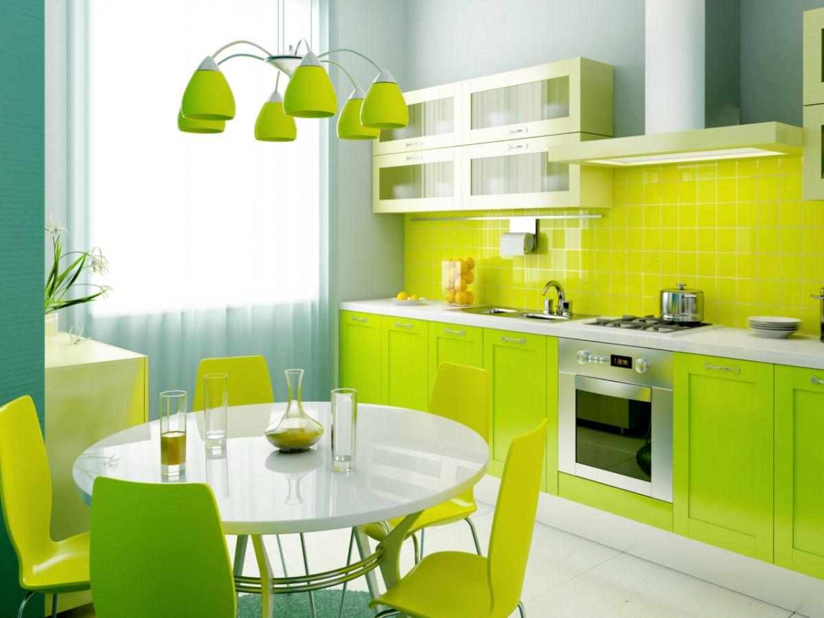 интерьер в ярких цветах жёлто-салатовая кухня