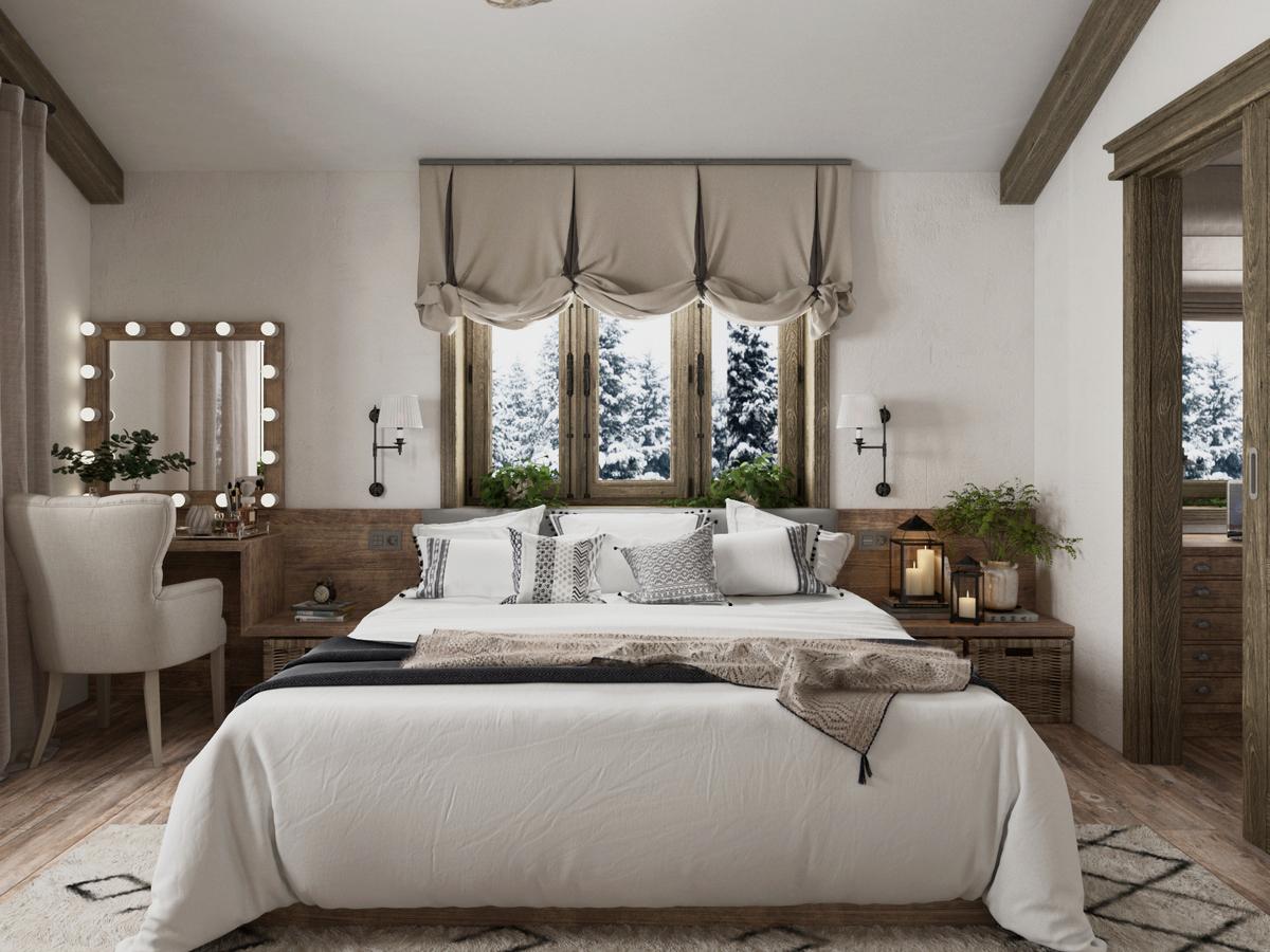 красивая спальня в стиле шале фото
