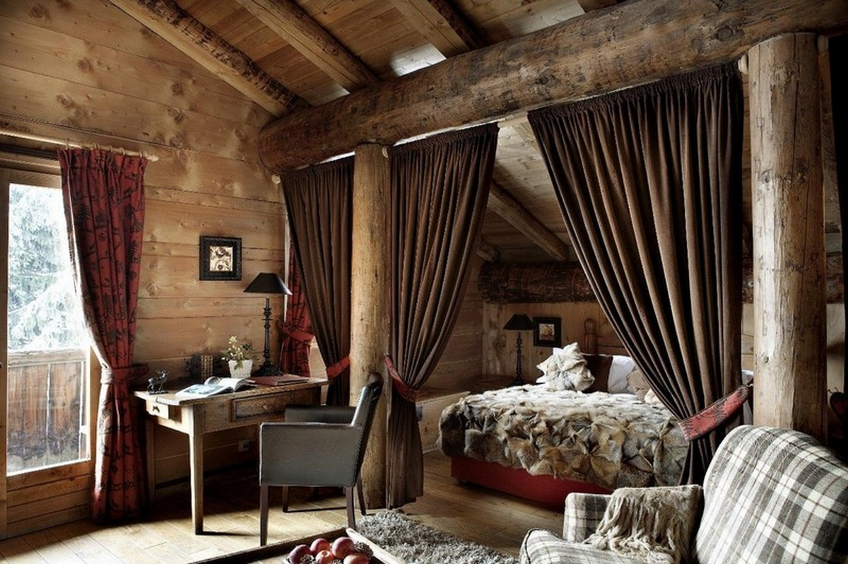 красивая спальня в стиле шале массивная древесина в дизайне