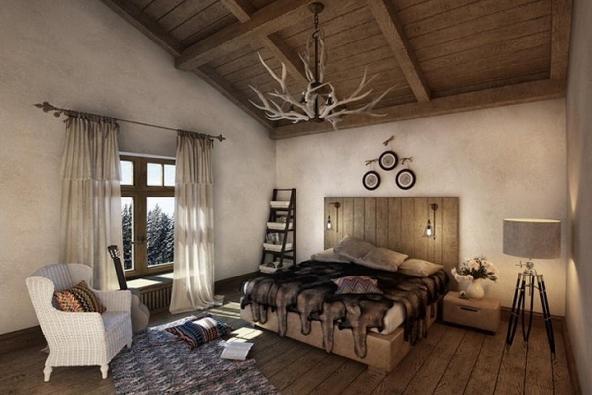 красивая спальня в стиле шале