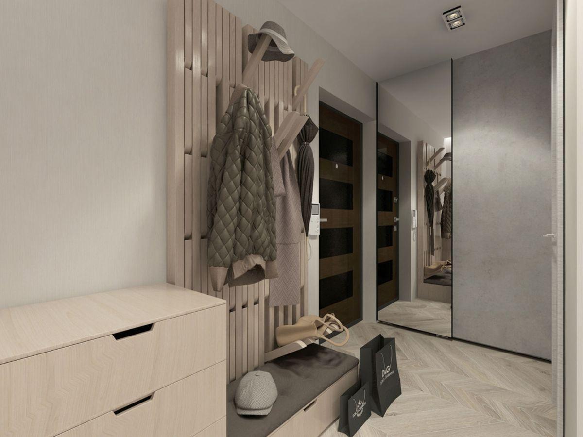 красивый дизайн прихожей в скандинавском стиле стильная мебель