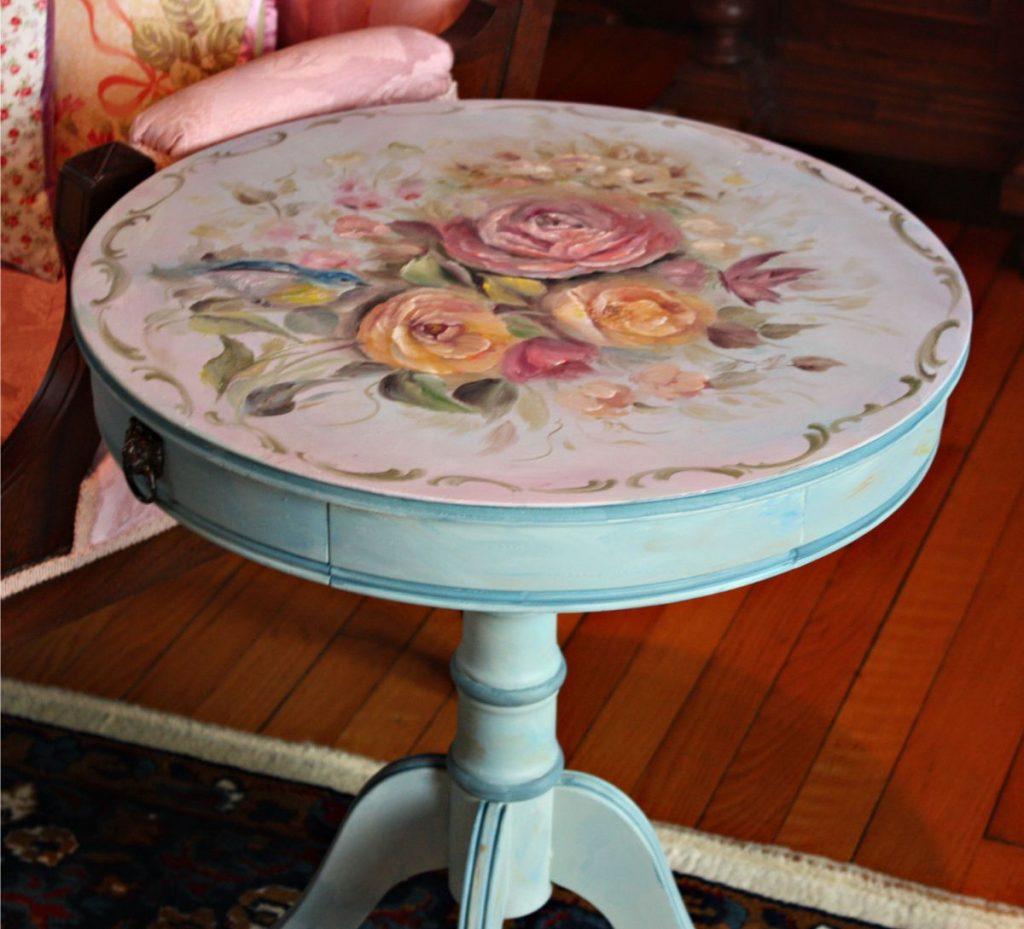 круглый столик в стиле прованс своими руками