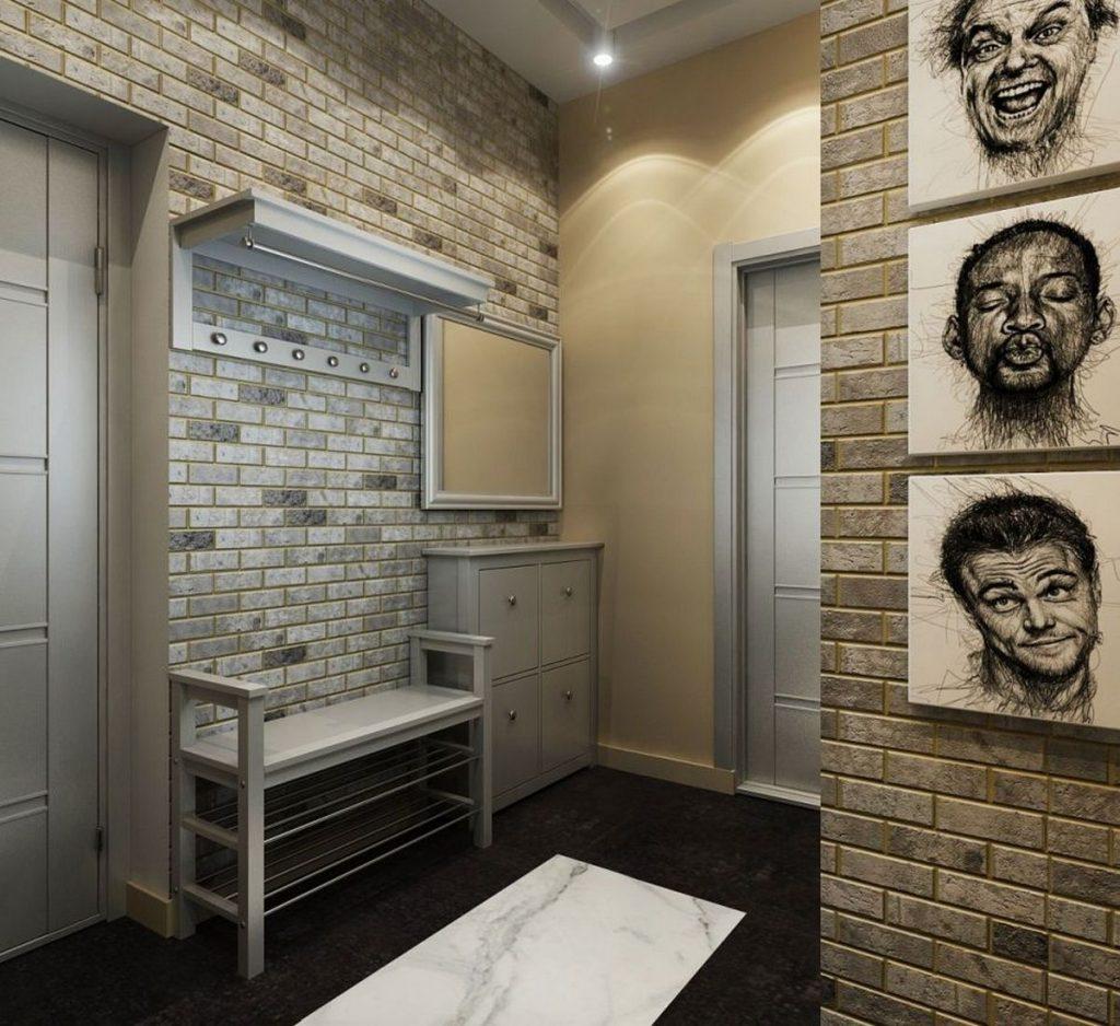 прихожая в стиле лофт в малогабаритной квартире