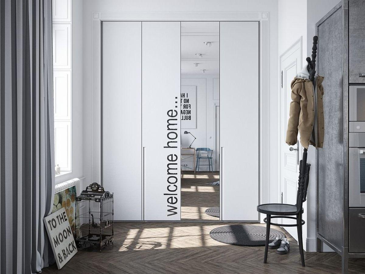 серый дизайн прихожей в скандинавском стиле