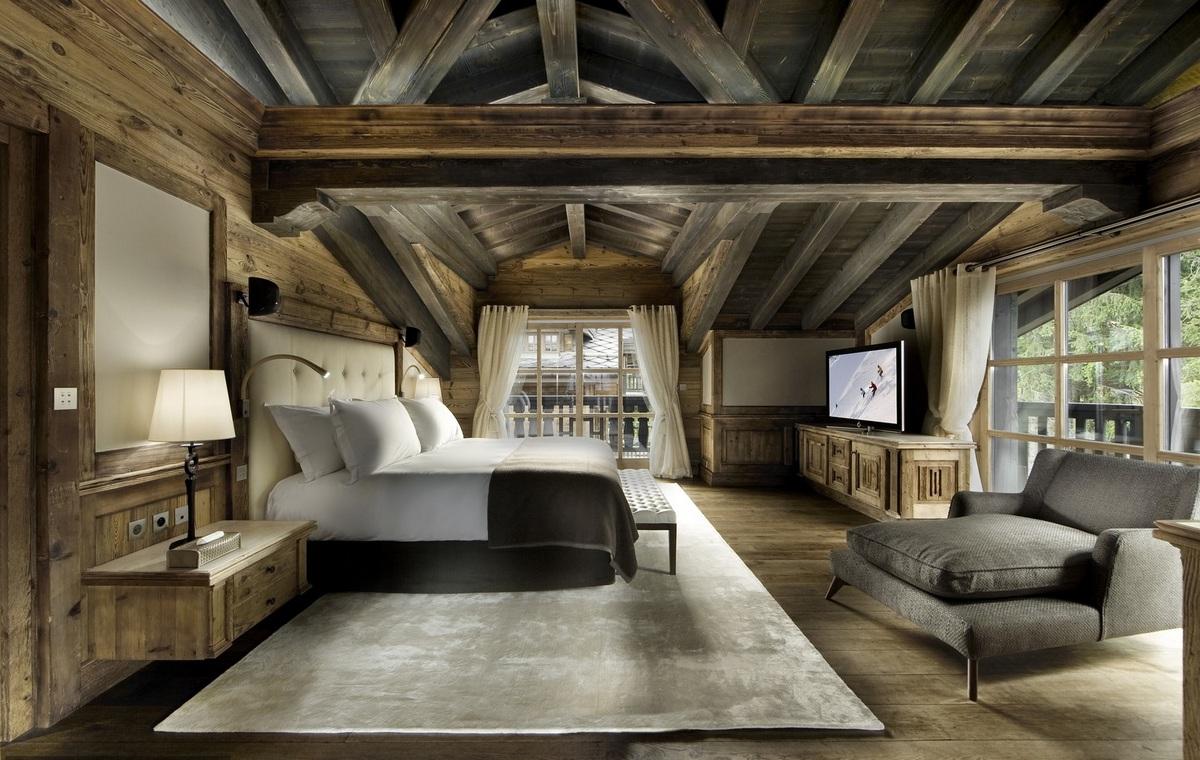 спальня дизайн в стиле шале фото