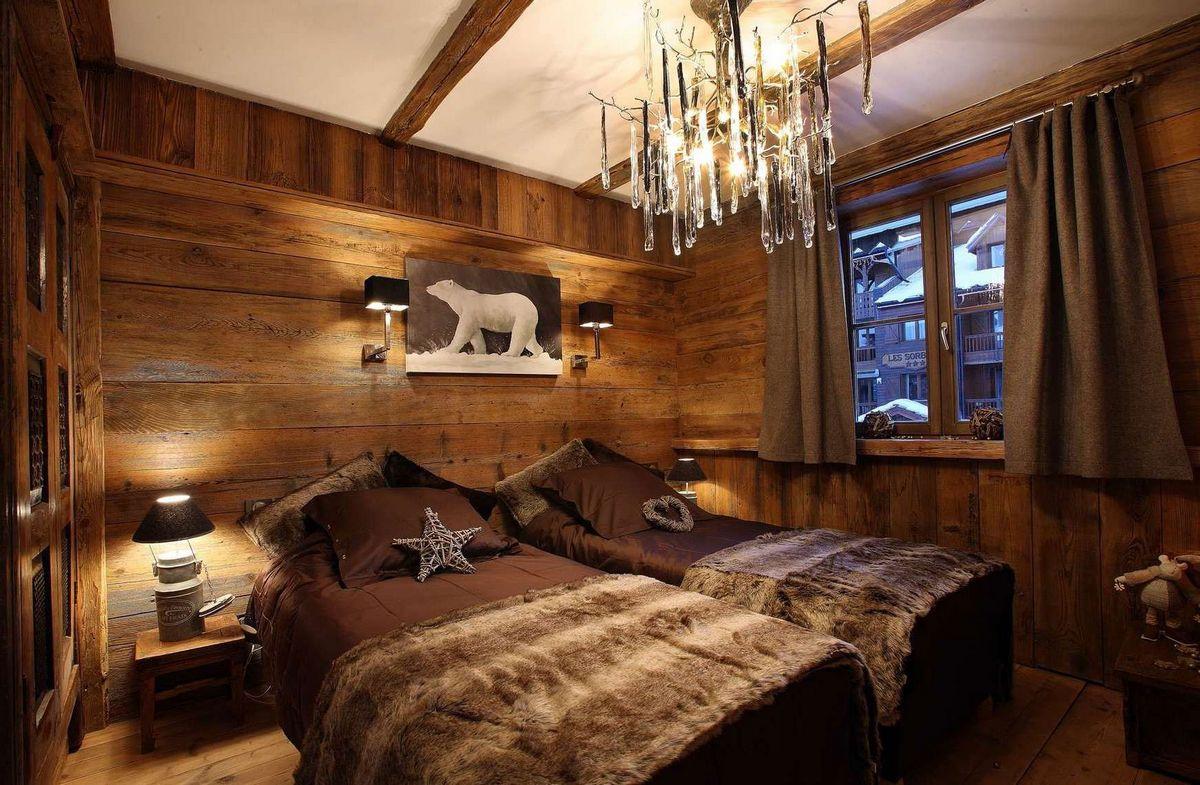 спальня дизайн в стиле шале на фото