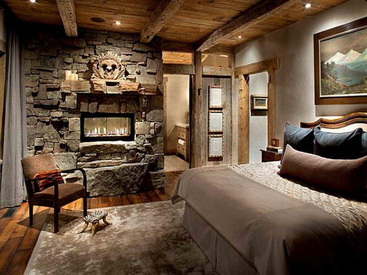 спальня на мансарде в стиле шале дизайн
