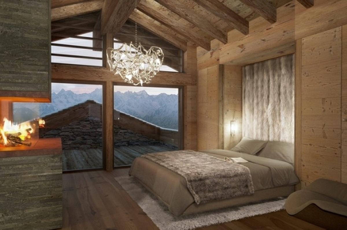 спальня на мансарде в стиле шале