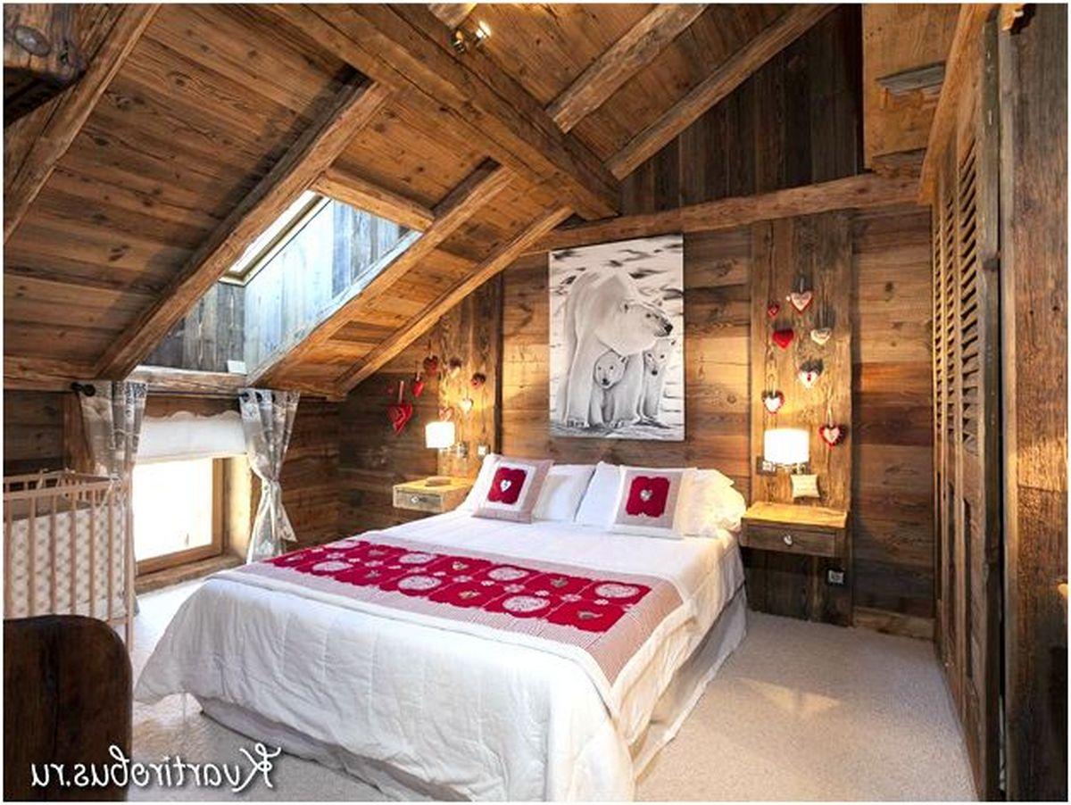 спальня в коричневом цвете шале
