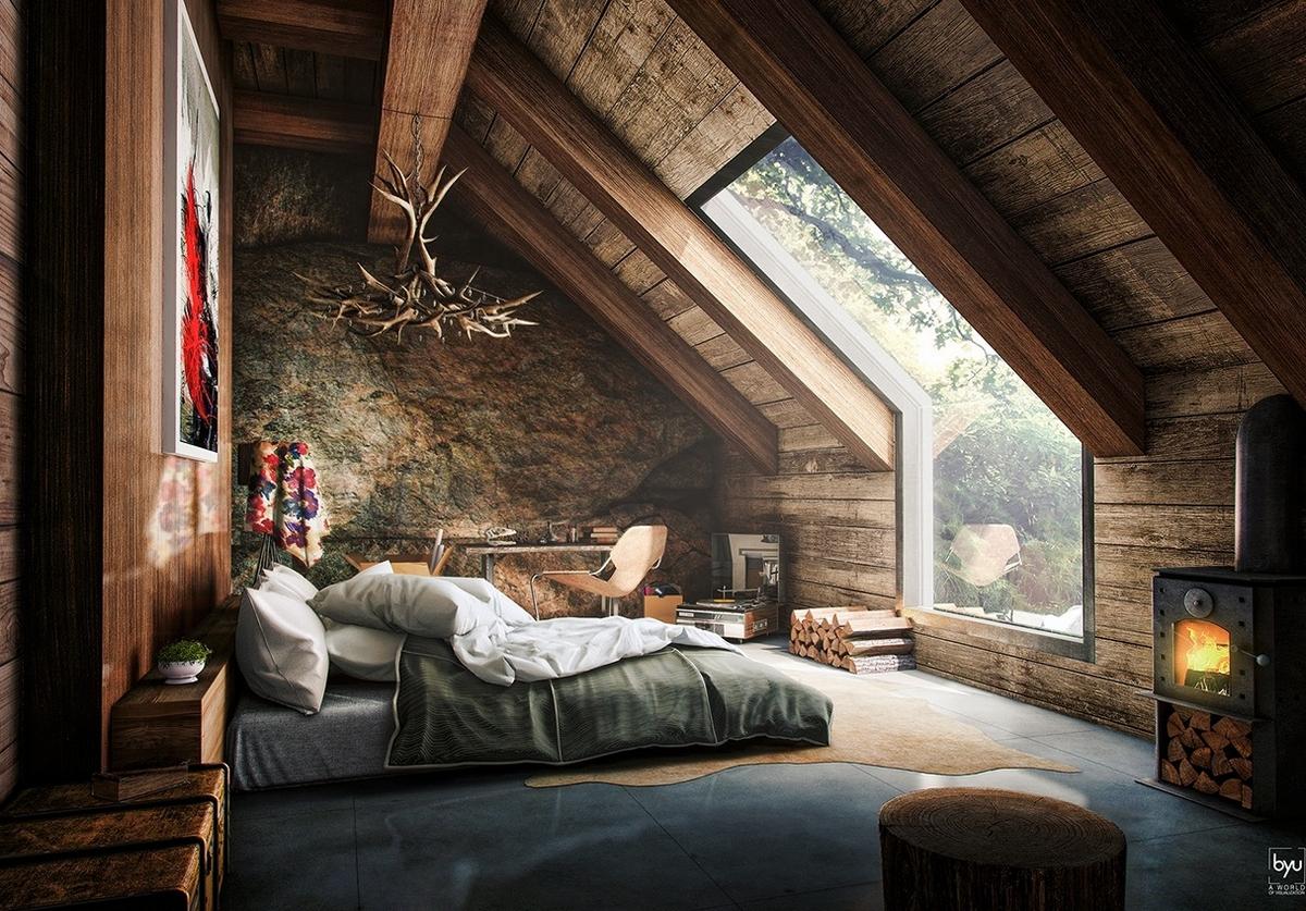 спальня в стиле шале в доме с мансардой