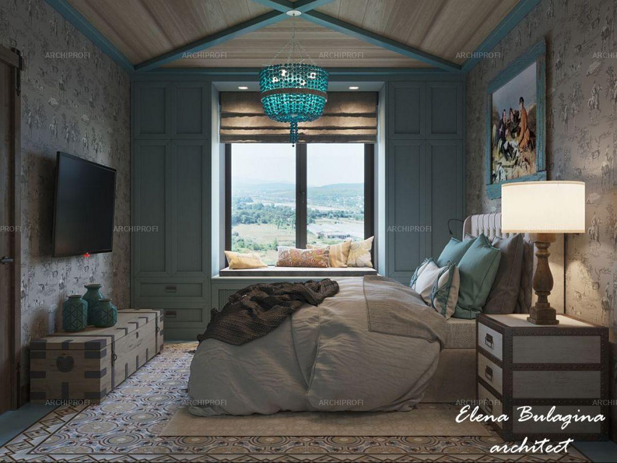 спальня в стиле шале в доме цвет тиффани