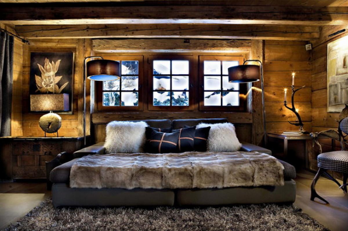 спальня в стиле шале в квартире на фото