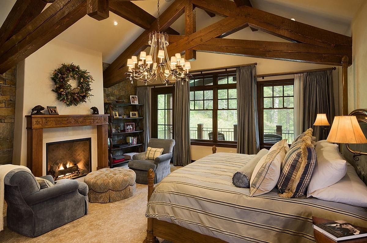 спальня в стиле шале в квартире пример