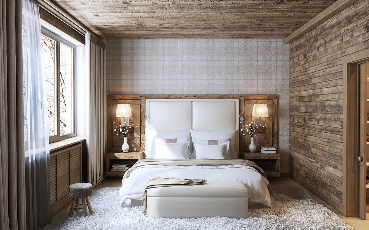 спальня в стиле шале в светлом доме