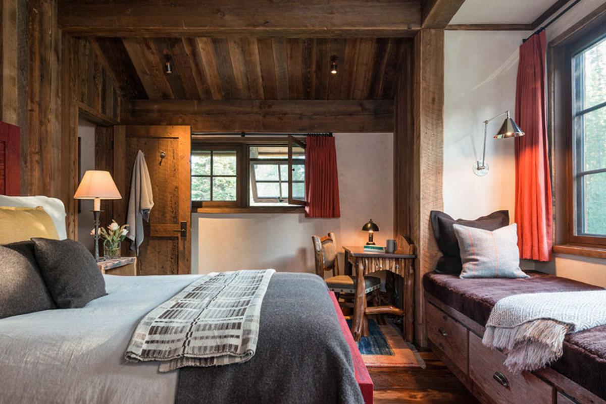 спальня в стиле шале в загородном доме фото
