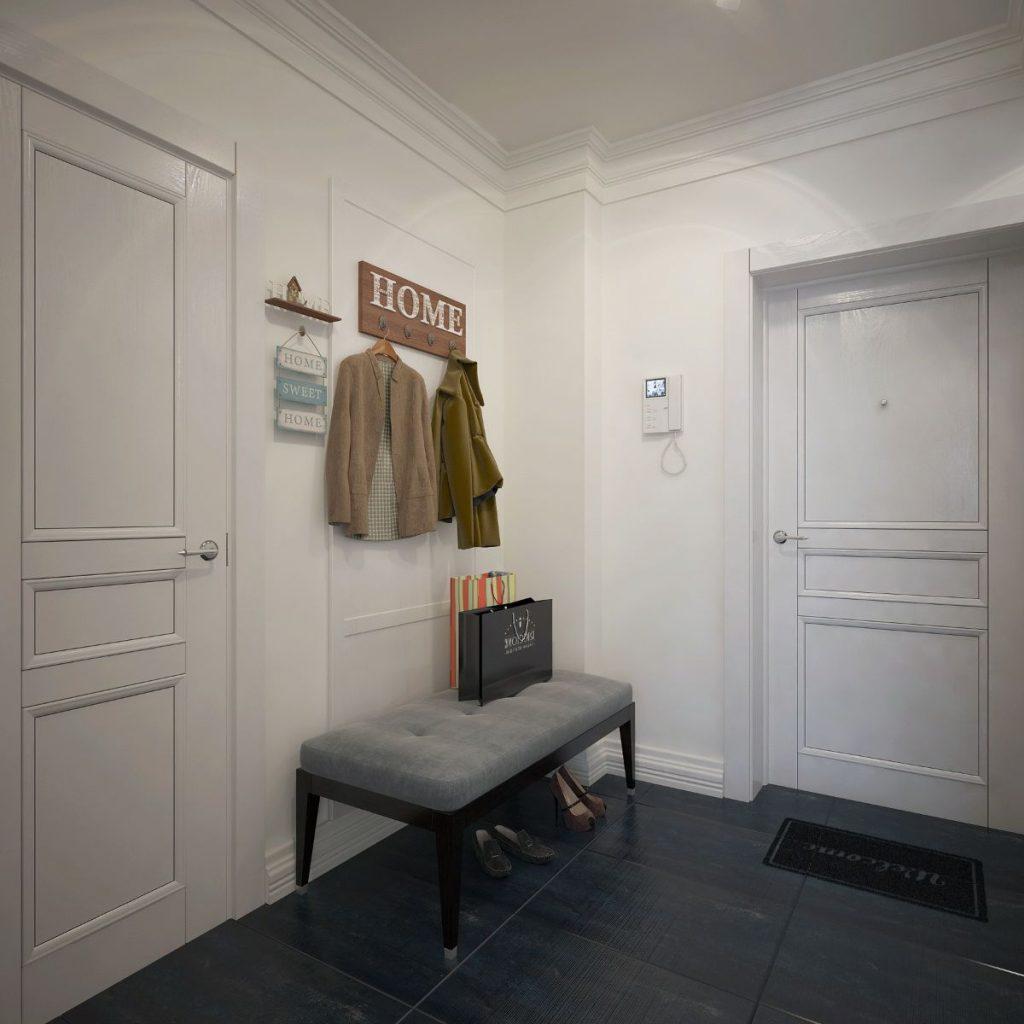 светлая прихожая комната в скандинавском стиле