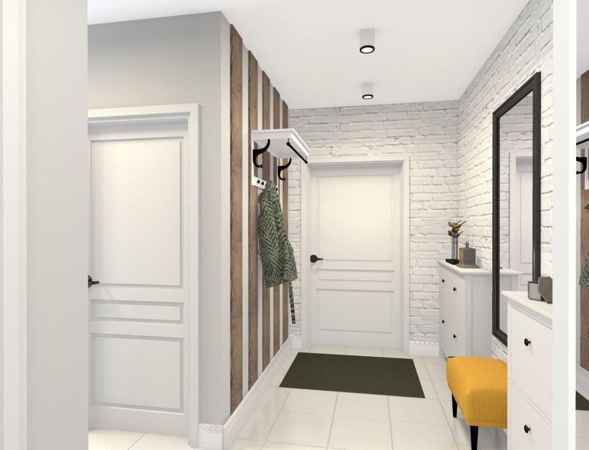уютный интерьер прихожей в скандинавском стиле дизайн с белой кирпичной кладкой