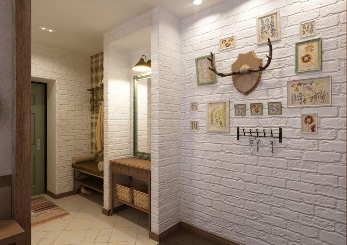 уютный интерьер прихожей в скандинавском стиле дизайн с кирпичной кладкой