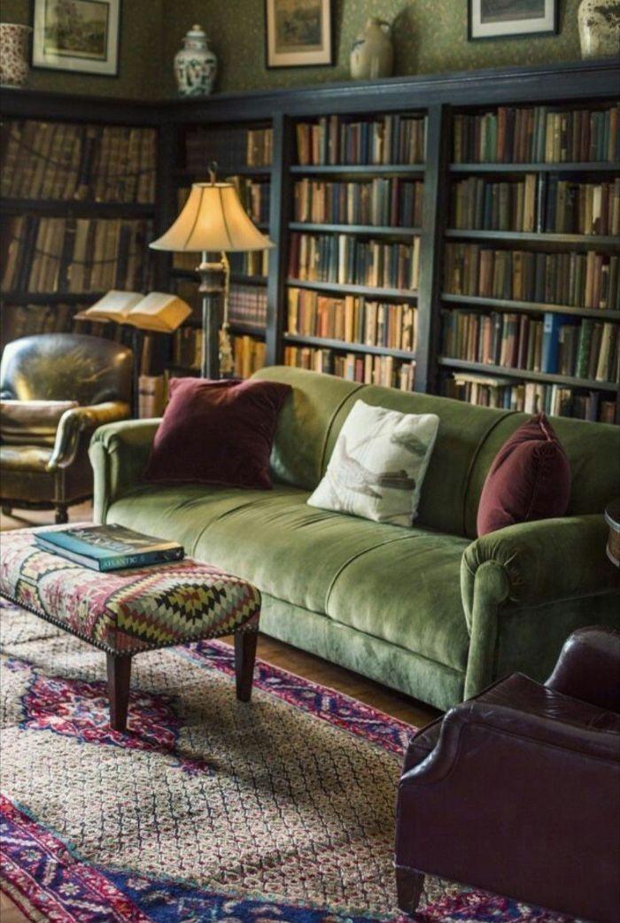 мягкая мебель в зал с библиотекой