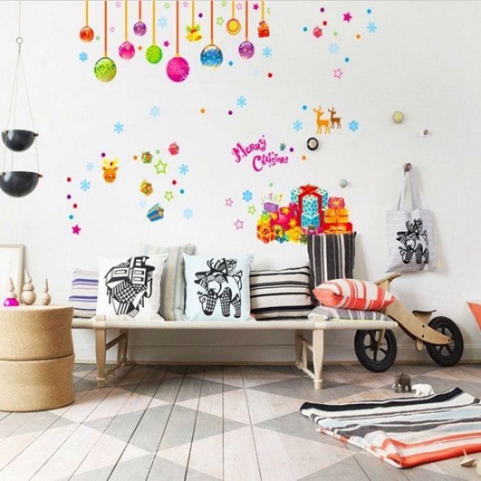 новогодние наклейки на стены в детской