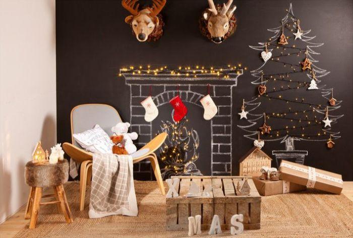 как оформить стену детской на новый год