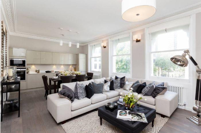 зонирование зала мягкой мебелью