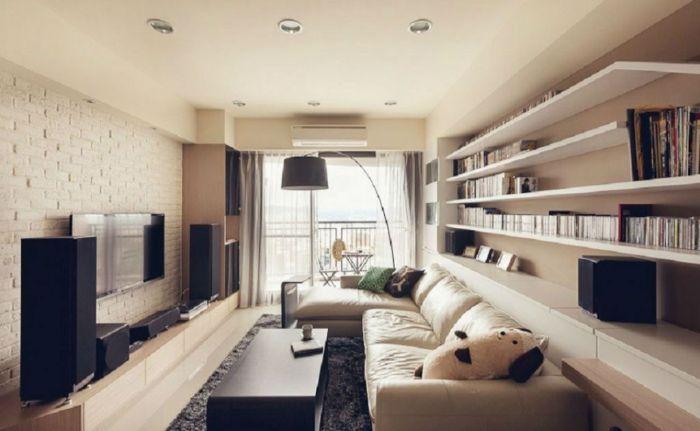 мягкая мебель в зале с телевизором