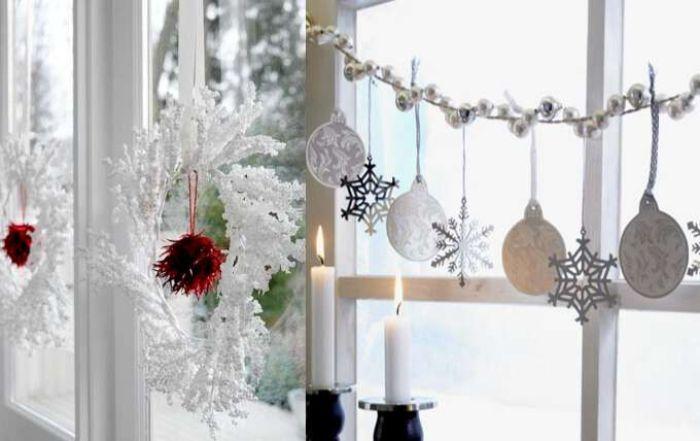 красивый новогодний декор окон