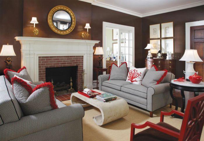 мягкая мебель в зал с камином