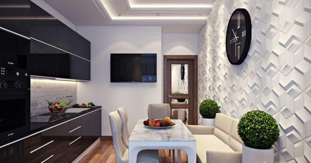 Декор стены на кухне шпаклёвка