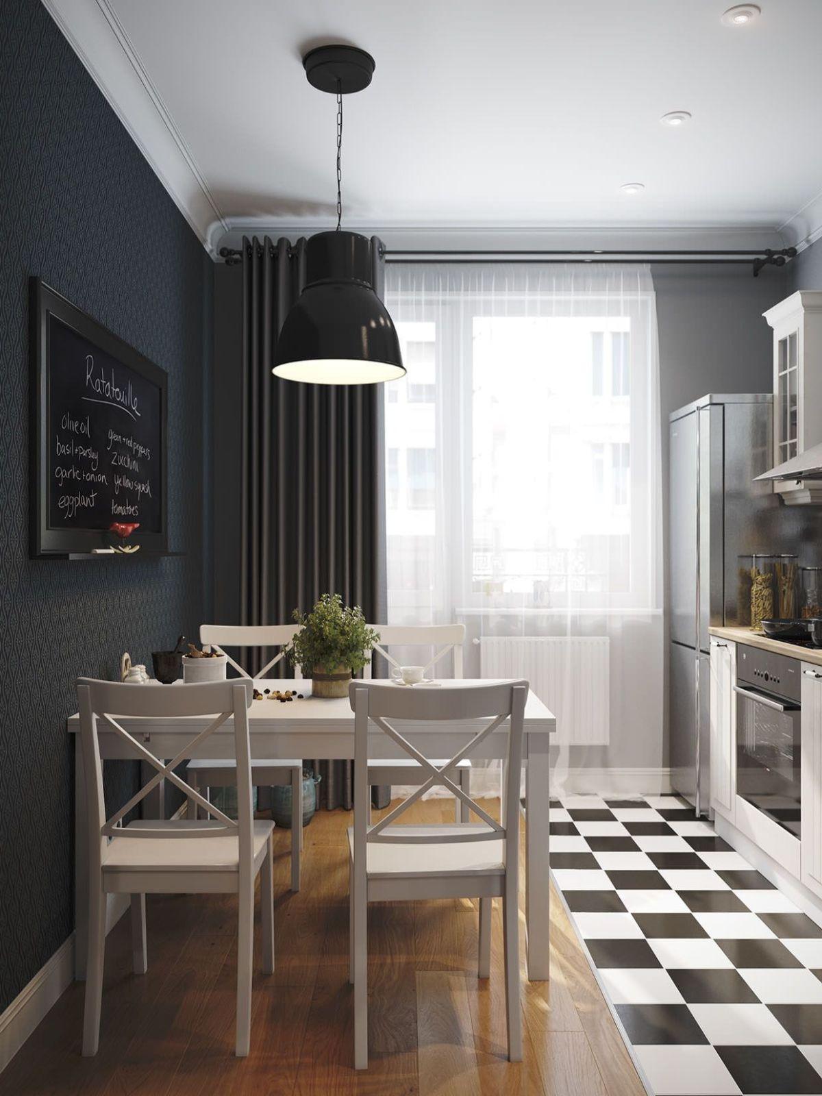 декор для кухни акцентная стена в чёрном цвете