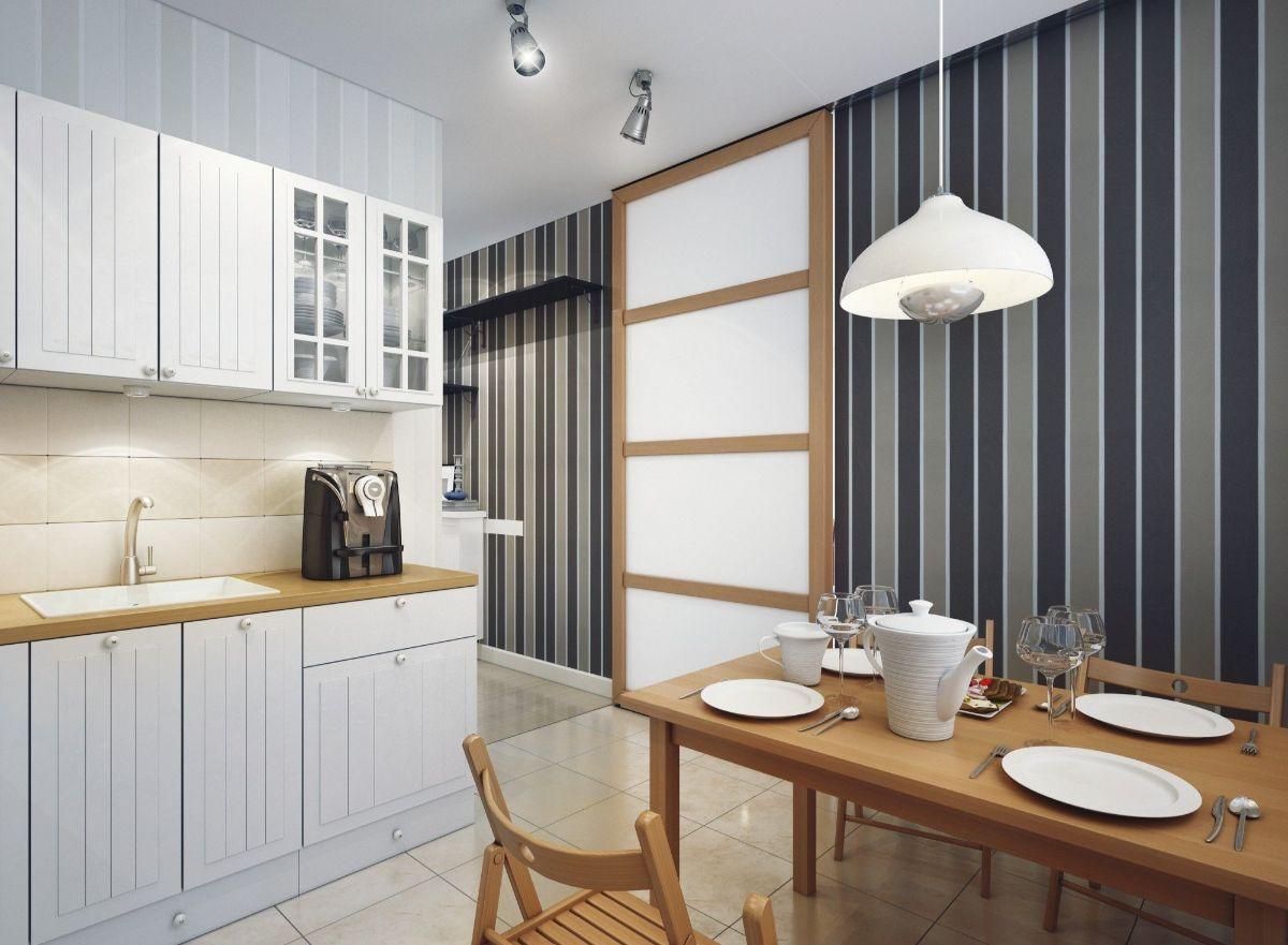 декор для кухни полосатая акцентная стена