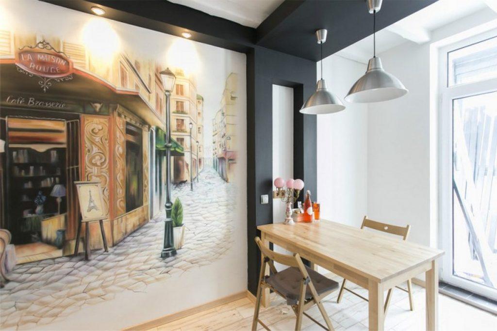 декор кухни обоями стен на фото
