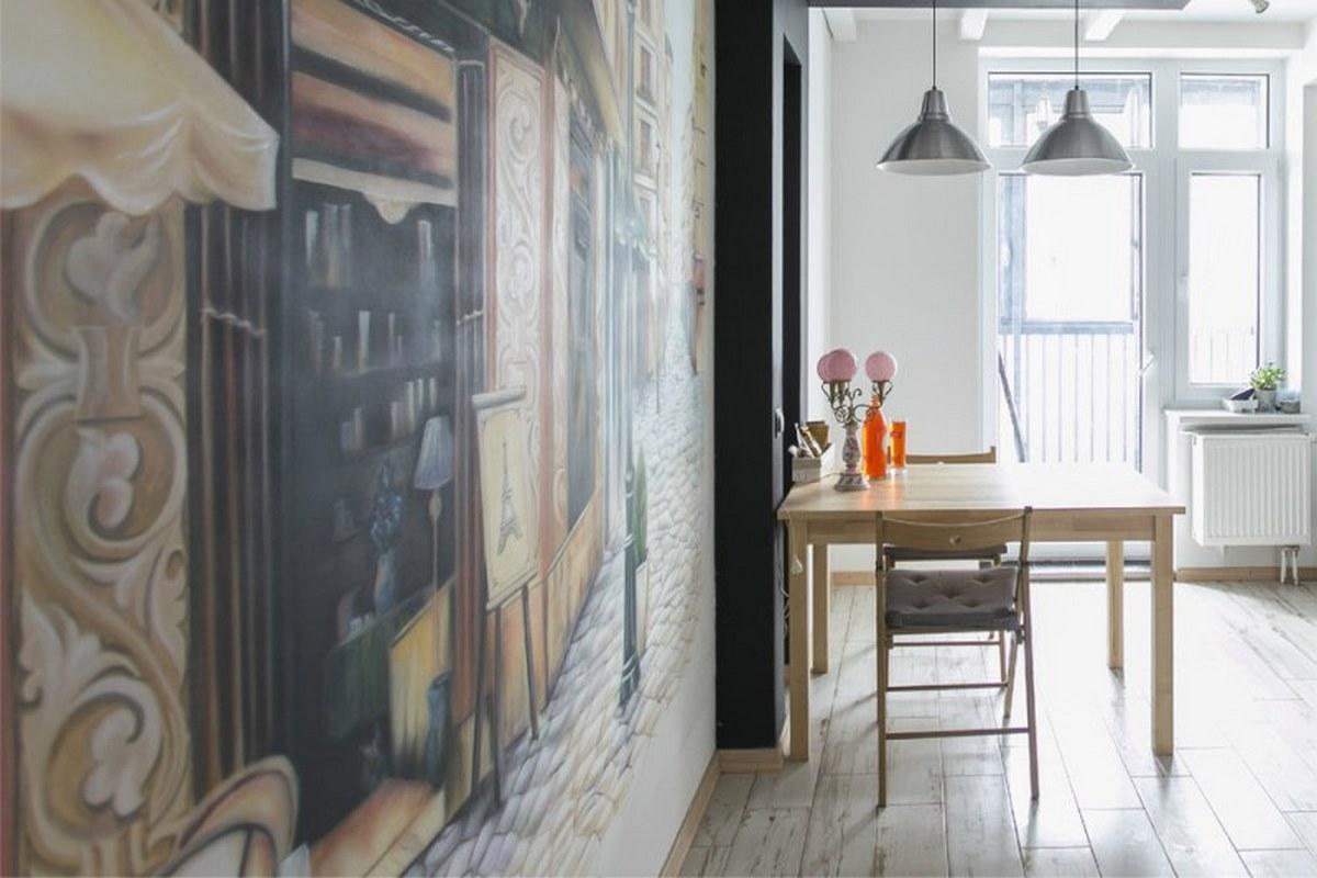 декор кухни обоями стены пример
