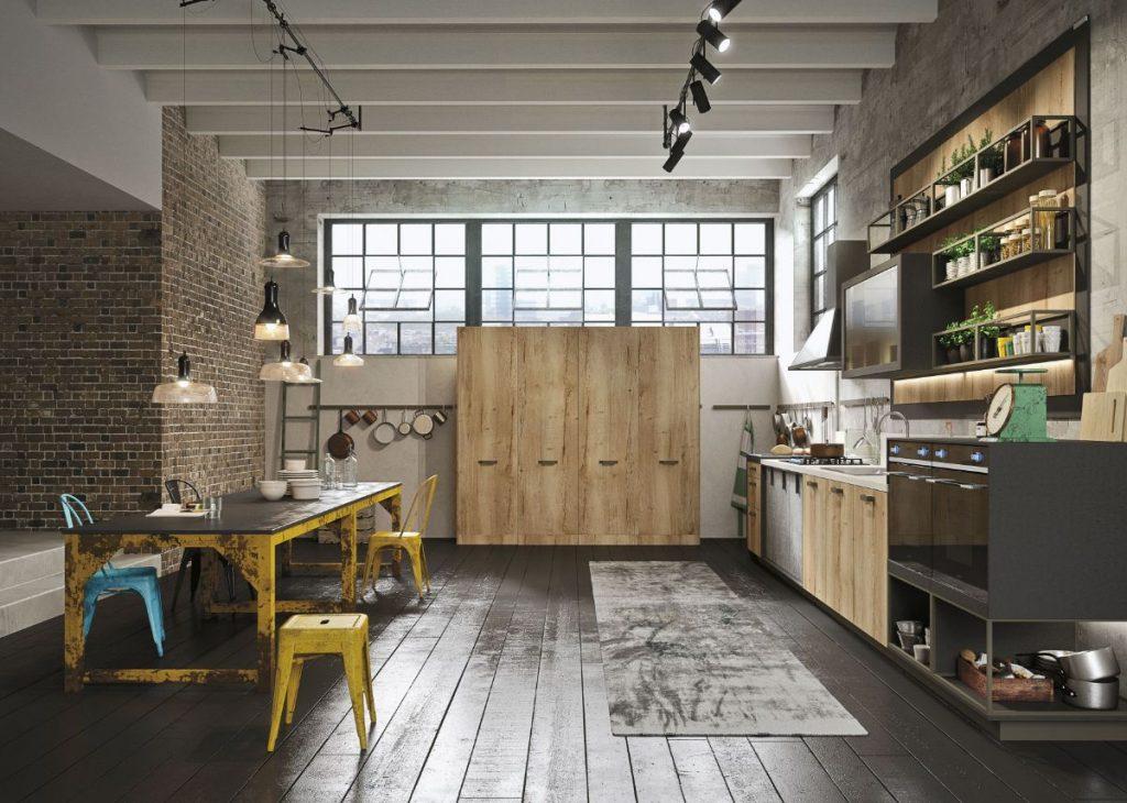 декор на кухне открытые полки в стиле лофт