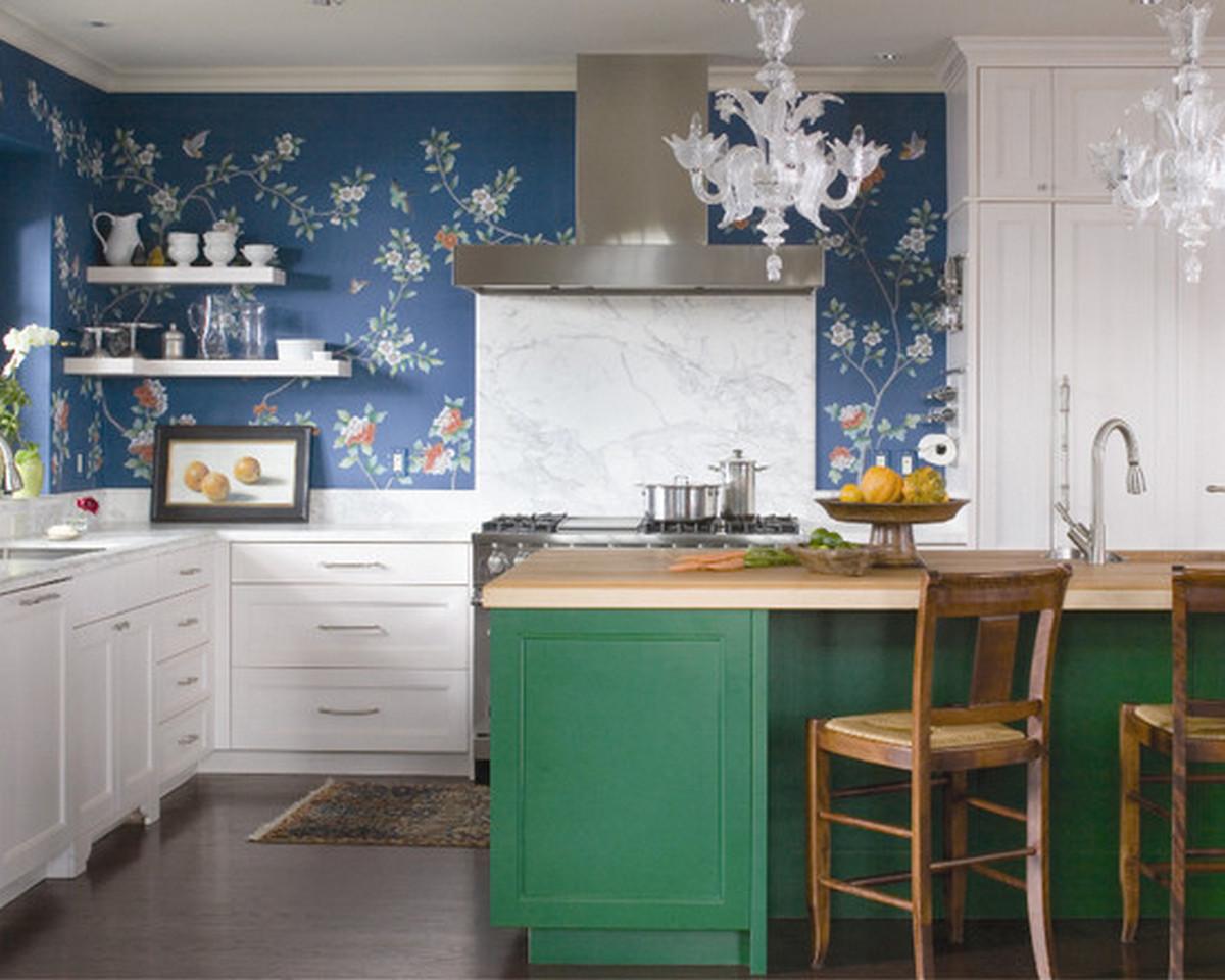 декор стены на кухне в обеденной зоне
