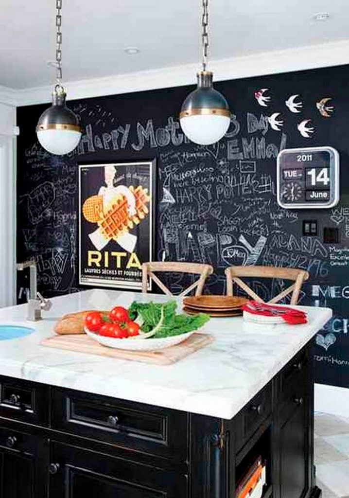 грифельная стена на кухне декор фото