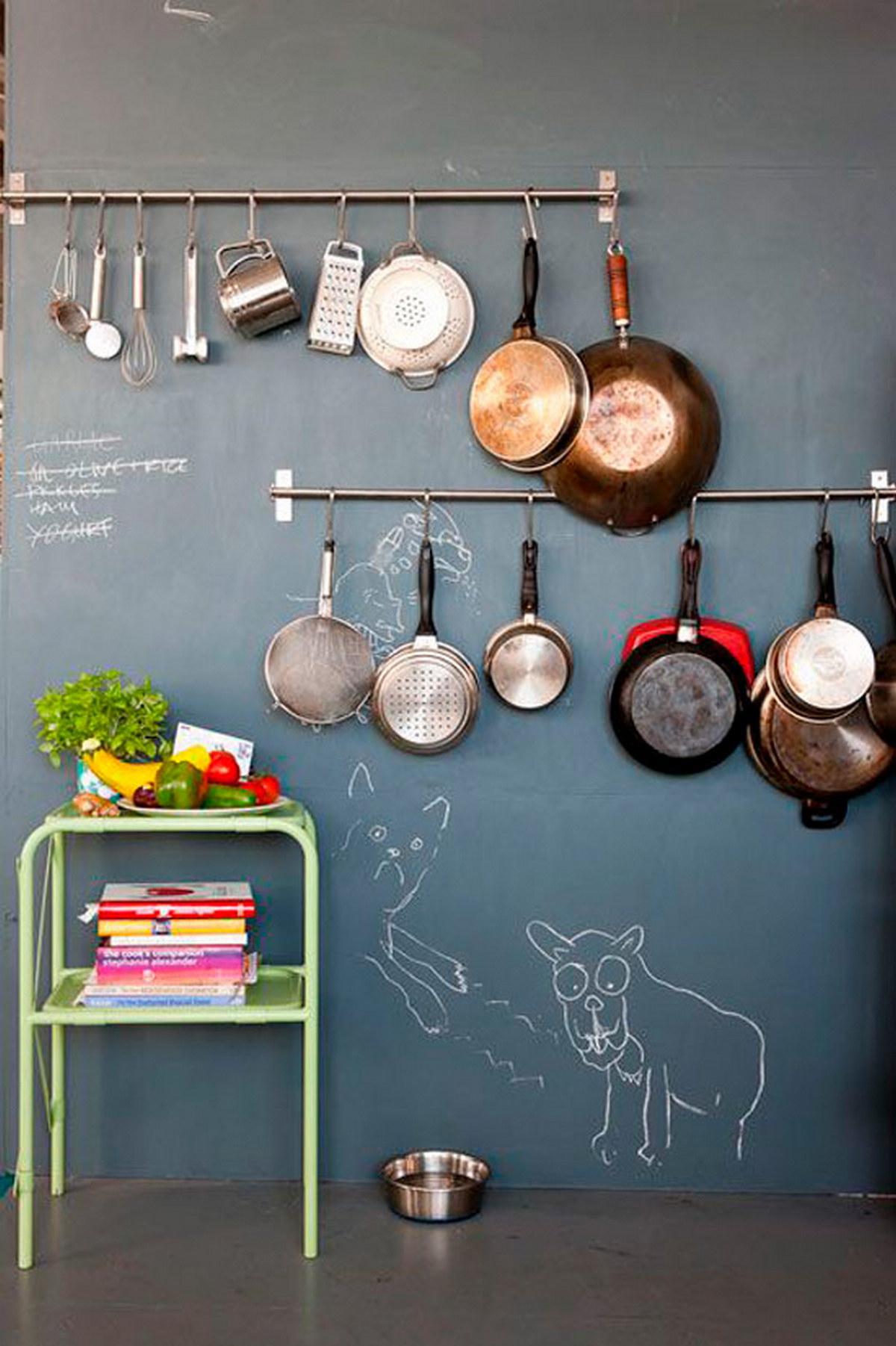 грифельная стена на кухне фото