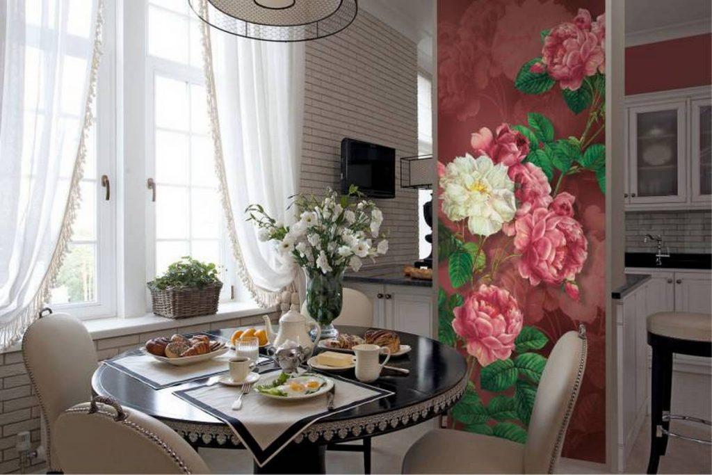 роспить стен в интерьере кухни цветами