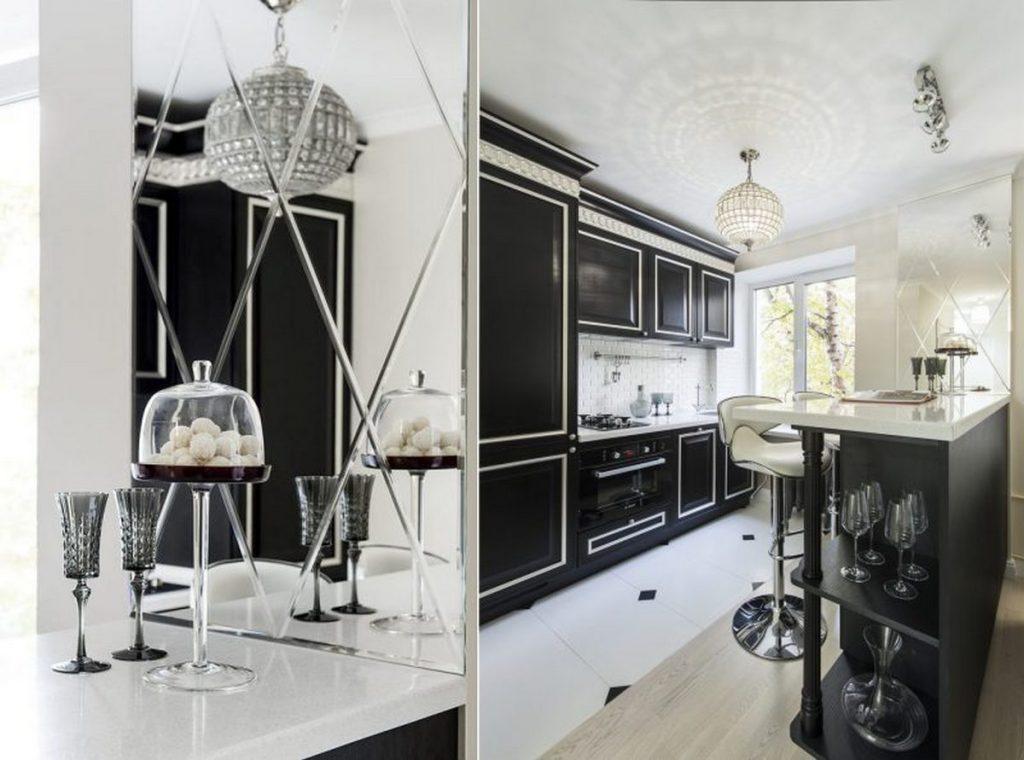 зеркало в интерьере кухни в хрущёвке