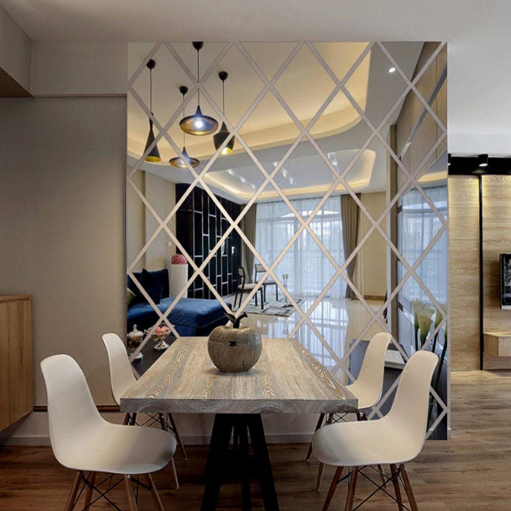 декоративные зеркала для интерьера стены гостиной