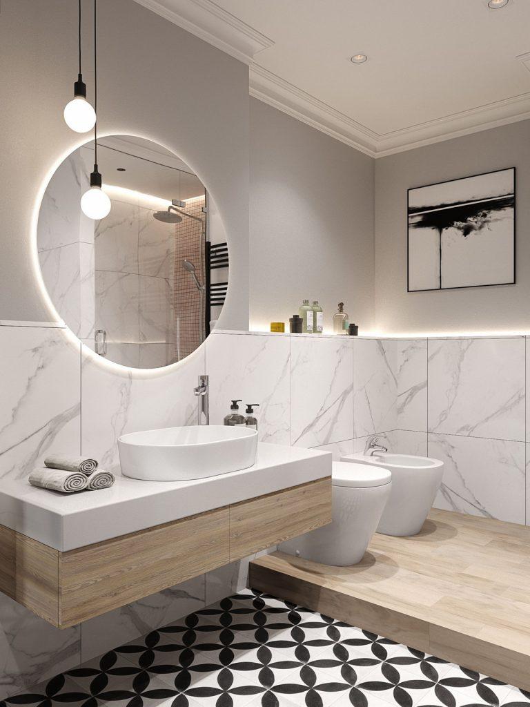 круглые зеркала в интерьере ванной