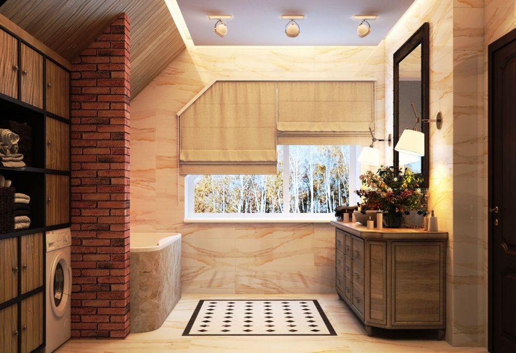 нюдовый интерьер бежевой ванной