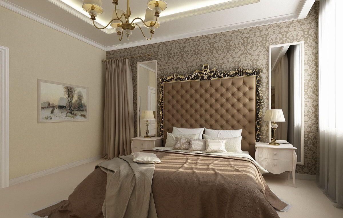 нюдовый интерьер элегантной спальни