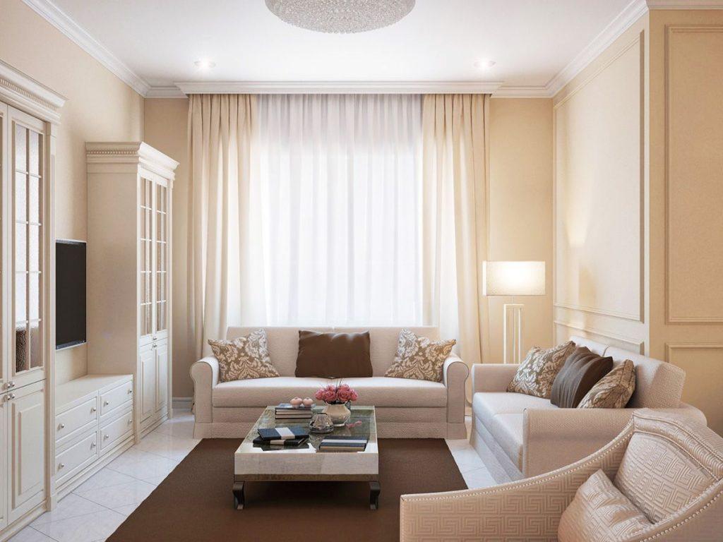 нюдовый интерьер гостиная в пастельных тонах