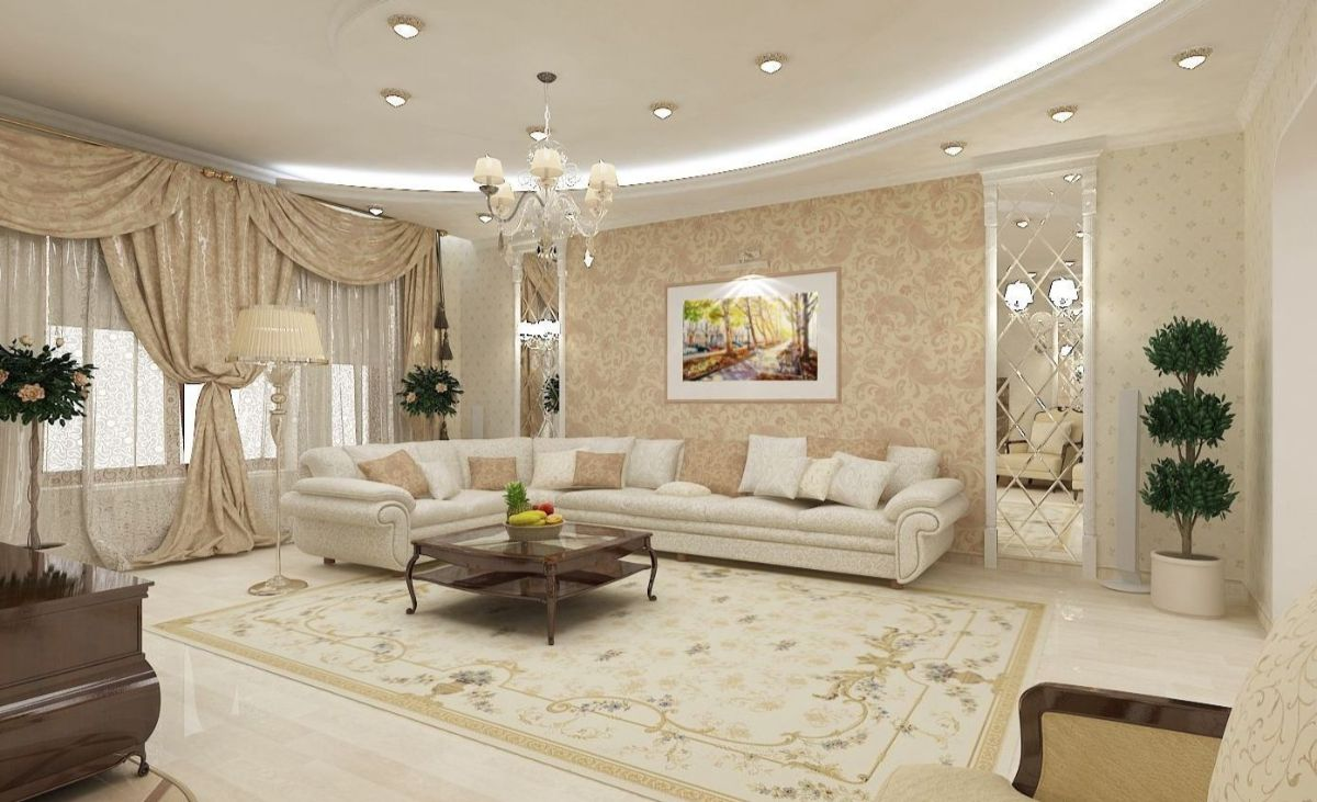 нюдовый интерьер гостиной роскошный дизайн