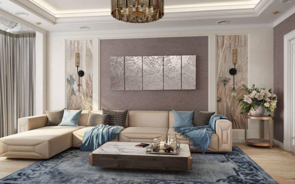 нюдовый интерьер гостиной с вкраплениями голубого цвета