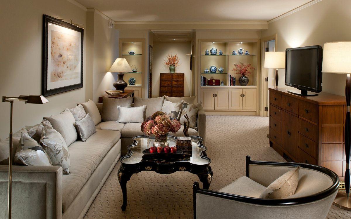 нюдовый интерьер гостиной в стиле модерн