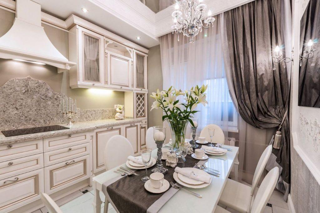 нюдовый интерьер кухни в стиле классики