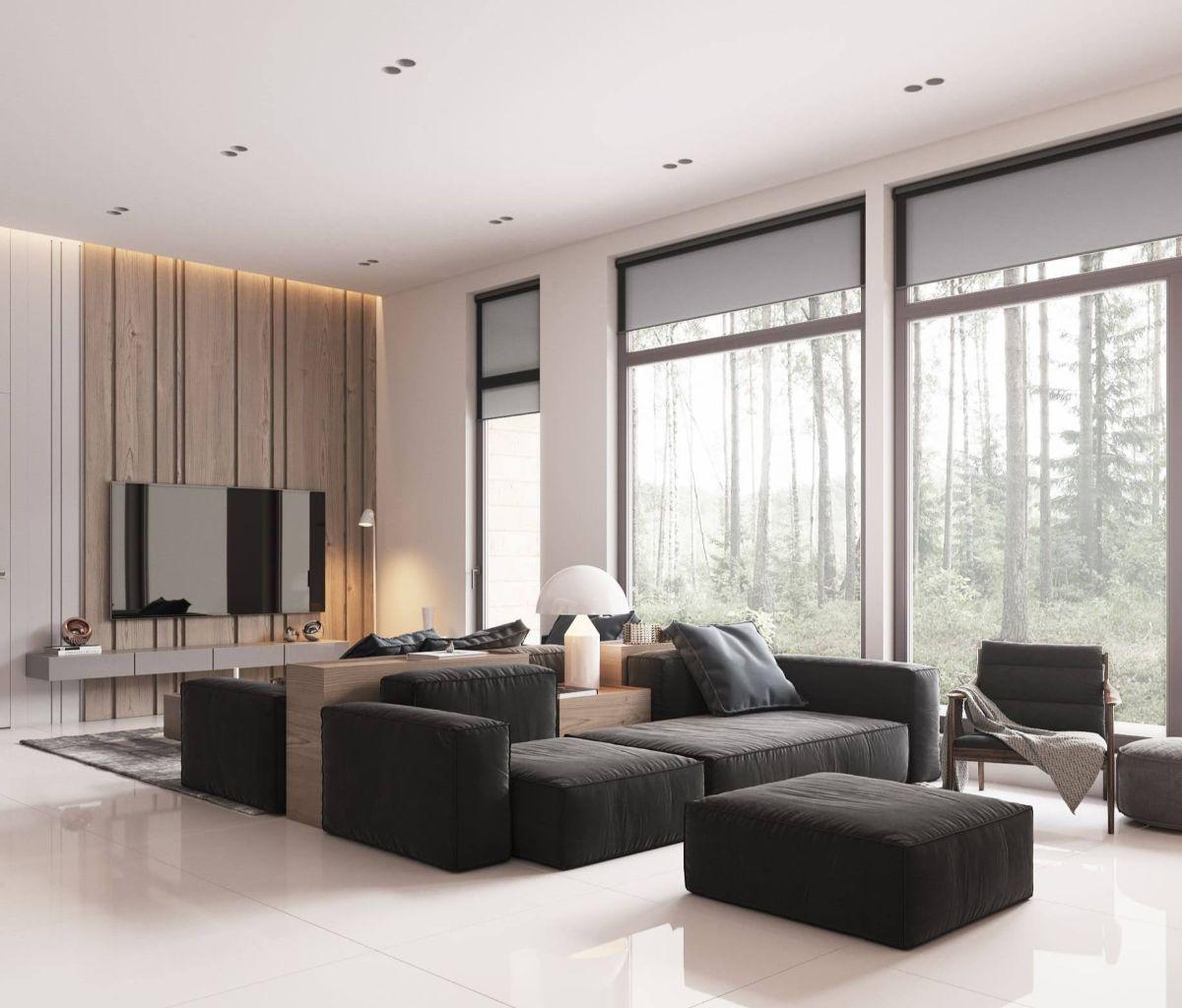 нюдовый интерьер минималистической гостиной